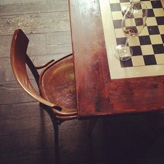 gorgeous! chess board painted on a table