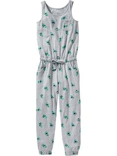 Girls Floral Sleeveless Jumpsuits Product Image