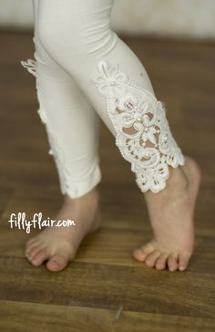 Little Girls Ivory Leggings with Pearls - Kids