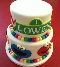 Sesame Street fondant cake!  Cake Couture fondant available at: https://www.etsy.com/listing/208545746/homemade-fondant-free-2day-usa-shipping?ref=shop_home_active_9