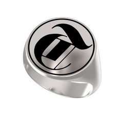 Letter T Ring Custom Initial Latin ABC Engraved Sterling Silver 925 Signet Crest #Signet