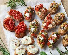 Sonnentor+Gute+Laune+Bruschetta Bruschetta, Baked Potato, Baking, Ethnic Recipes, Cook, Lettuce Recipes, Guardian Angels, Fresh, Food Food