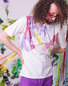 80s 90s retro t-shirt vintage white polo tshirt colorful | Etsy