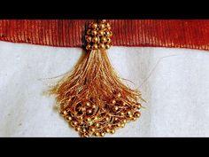 Saree Kuchu New Designs, Saree Jacket Designs, Saree Tassels Designs, Blouse Designs Silk, Dress Neck Designs, Bridal Blouse Designs, Designs For Dresses, Seed Bead Flowers, Beaded Flowers