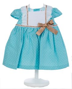 Vestido Motitas Verdemar con lazo - demelocoton.com