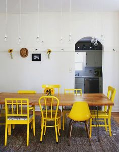 Dining room wall hooks - I love the hook idea! the chairs are cute too, just not yellow for me #PaintedChair