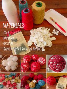 Que tal colocar a mão na massa e fazer sua própria decoração de Natal? Veja esse passo a passo facinho de como fazer bolas de barbante.