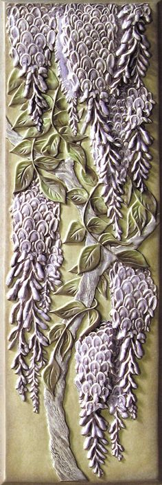 Lewellen 6x18 Inch Wisteria Tile-Hand Painted 2