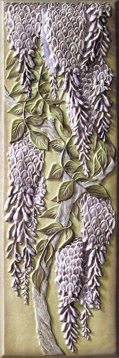 Lewellen Wisteria Tile  What a master Norm Lewellen is!