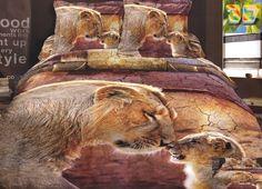 Pościel na łóżko w kolorze brązowym z lwem i lwiątkiem