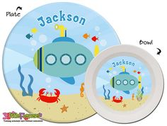 Personalized Submarine Plate and Bowl Set - Personalized Melamine Children Plate and Cereal Bowl - Kids Dishes for Mealtime - Under the sea