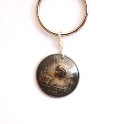 Key Ring, Florida, U.S. State Quarter Dollar Coin, Space Shuttle Keychain 2004, Eco-Friendly, Sustainable Key Fob by Hendywood - Hendywood: Unique Handmade Jewelry