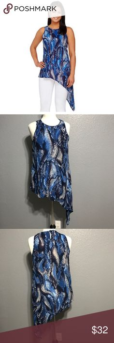 """🆕 G.I.L.I Snake Print Top with Asymmetric Hem 8 M FEATURES:  🔘Brand: G.I.L.I Got it Love it 🔘Asymmetrical hem 🔘Sheer material 🔘designer calls the color Deep Twilight   ITEM SPECIFICS:  🔘Length: 27"""" & 45"""" 🔘Bust: 38"""" 🔘Color: blue, purple, white 🔘Fabric: 100% polyester  🔘Condition: excellent 04.14.32.0  ❌No trades ✔️Reasonable offers accepted ✔️Fast shipping - same day/next day 🛍Bundle discounts! 20% off 2; 30% off 3+  🚭Pet free/smoke free home. G.I.L.I Tops Tunics"""