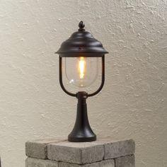 Konstsmide Parma Single Light Post Lantern in Black Finish