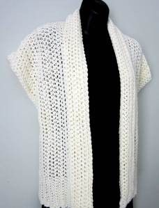 Crocheted shrug or cap sleeve cardigan. Free pattern.