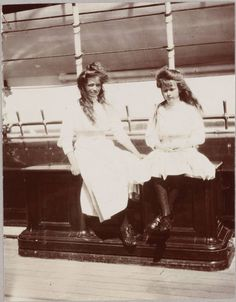 Grand Duchesses Maria&Anastasia Romanov. The two girls shared a room, often wore variations of the same dress, and spent much of their time together. Maria tended to be dominated by her enthusiastic & energetic younger sister. When Anastasia tripped people, teased others or caused a scene, Maria always tried to apologize, though she could never stop her younger sister