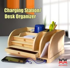Charging Station and desk organizer. Free video tutorial and plans.