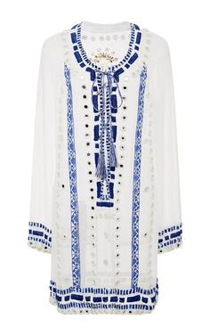 Embroidered Lace Up Dress by PIA PAURO for Preorder on Moda Operandi