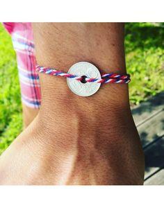 Bracelet Coton tressé bleu blanc rouge