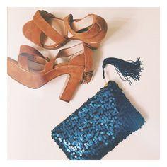 Elektra. Mermaid Navy Blue Sequin Clutch. Matte-finish sequin pouch with zipper. Blue Tassel Metallic Clutch. Royal Blue. Free US shipping