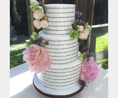 Look at those peonies!  Cool fondant cake decorated with lyrics from 2 songs chosen by the bride and groom ~ we ❤ this! moncheribridals.com