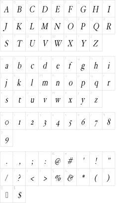 HoffmanFL-Oblique font character map