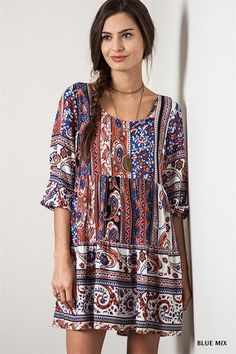 Umgee Blue Mix Paisley Printed Dress
