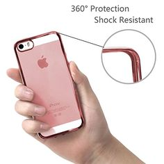 cool Iphone SE Case - HD Clear Screen Protector Included - Shock-Absorption Clear TPU Bumper Case Slim Fit Soft Cover Shell , for iPhone 5/5s/SE (Rose Gold)