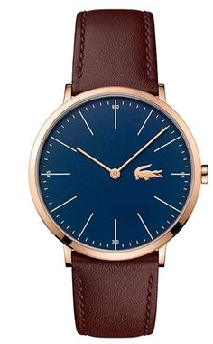 Lacoste Mens Brown Leather Strap Blue Dial Gold Case 2010871 - First Class Watches™ Stylish Watches, Watches For Men, Brown Leather Strap Watch, Hand Watch, Bracelet Cuir, Lacoste Men, Beautiful Watches, Classic Man, Gold Leather