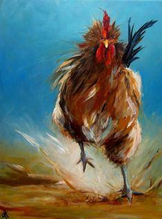 Run Chicken Run Painting - Run Chicken Run Fine Art Print - Cari Humphry - I like the bold brush strokes and color. Chicken Painting, Chicken Art, Chicken Runs, Angry Chicken, Chicken Life, Rooster Painting, Rooster Art, Painting Art, Impressionist