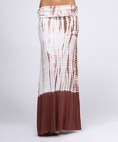 Loving this Brown & White Tie-Dye Convertible Maxi Skirt on #zulily! #zulilyfinds