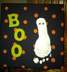 Halloween Ghost foot print canvas