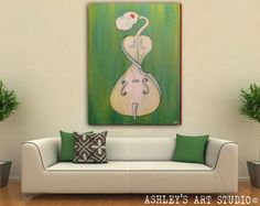 """Cello Painting - Original Acrylic Painting 30"""" x 40"""" - Hand Painted"""