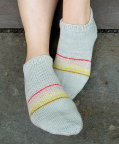 Sporty Striped Peds ankle socks - free knitting pattern - the purl bee