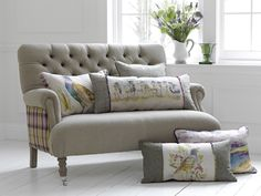 Cornelius Sofa by Voyage Maison, with cushions from the Country Collection (also Voyage Maison). Available to order at Groves Interiors
