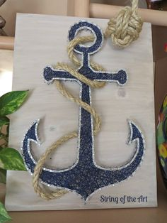 String Art Kit, DIY Crafts Kit, Anchor String Art.  This beautiful Kit comes with all the highest quality embroidery floss, metalicc wire nails, instructions, a HAND sanded and HAND stained whitewashed wood board, and a pre-tied monkey fist knotted rope!  Visit www.StringoftheArt.com to learn more. Anchor String Art, Nautical Decor, Anchor Decor, Home Decor, Crafts Project, Crafts Idea, Nautical Idea