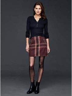 Wool plaid zip mini skirt | Gap (but with a turtleneck!)