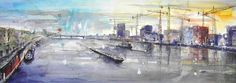 Mannheim Panorama - Blick von Kurt-Schumacher-Bruecke ueber den Rhein - 2009 (28 x 77) (verkauft).jpg 800×283 Pixel