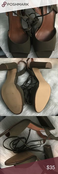 VixenPopShop Brand New Steve Madden lace up! Brand New olive color lace-up suede sandals from Steve Madden! These chic,wrap-around ankle ties has a sexy silhouette and look great on!Price is Negotiable. Steve Madden Shoes Sandals