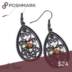 Park Lane Encore Earrings Hematite scrollwork is accented with aurora borealis and topaz Austrian crystals. Park Lane Jewelry Earrings