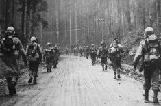 Infantry men walk into the Hurtgen Forest