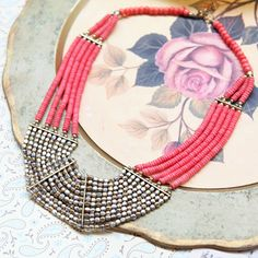 adela coral beaded necklace $18.99