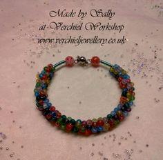 Beaded wirework bracelet made on the wire gizmo by Sally at Verchiel Jewellery workshop.  www.verchieljewellery.co.uk