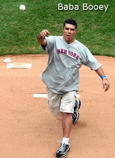 Howard Stern guy Baba Booey throws out the first pitch