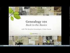 Back to the Basics:  Genealogy 101  Brand new to genealogy? We're so glad you're here! Pull up a chair and spend a few minutes with our very own Barefoot Genealogist as she guides you through the basics of getting started. She'll have you climbing your own family tree in no time.  #genealogy #familytree #beginner