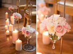 Love this look with the roses in clear glass hanging balls with crystals—the candles would never work with children in attendance❣ POPSUGAR Home