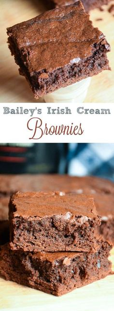 These Bailey's Irish Cream Brownies are full of rich chocolate flavor and Irish Cream Liquor. Serve on their own or as a treat with a shot of Bailey's! Baileys Irish Cream, Irish Cream Liquor, Chocolate Cheesecake, Chocolate Flavors, Chocolate Desserts, Chocolate Brownies, Mint Chocolate, Chocolate Chips, Chocolate Baileys