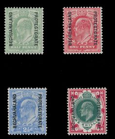 Bechuanaland Protectorate - King Edward VII, stamps of GB overprinted vertically with ''Bechuanaland Protectorate'' in black, complete set of four, full OG, NH King Edward Vii, Commonwealth, Postage Stamps, Postcards, Coins, British, Black, Abstract Art, Seals