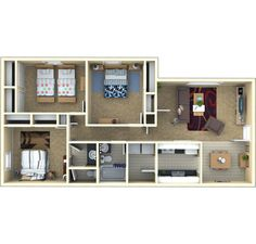 3 bedroom   1.5 bath   1150 sq ft       Details: Ask About Our Zero Deposit Option!    Description: This is a great floor plan with a nineteen foot long living room! There are SOO many closets and conveniences like multiple electrical outlets and drawers in the kitchens, and just wait till you see the vanity area in your new master bedroom!