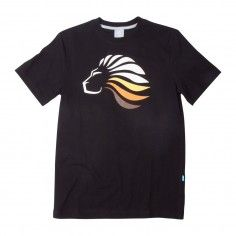 A black tee with a cool print. Use it with a pair of blue stone denims or a coral pair of shorts in the summer.
